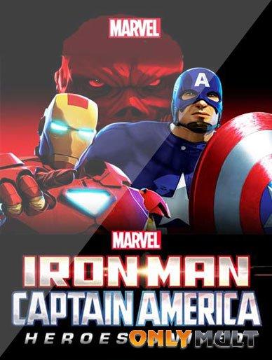 Poster Железный человек и Капитан Америка Союз героев